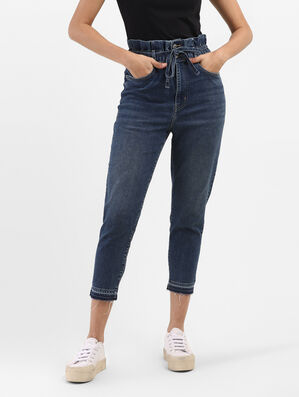 Mid Rise Paperbag Jeans